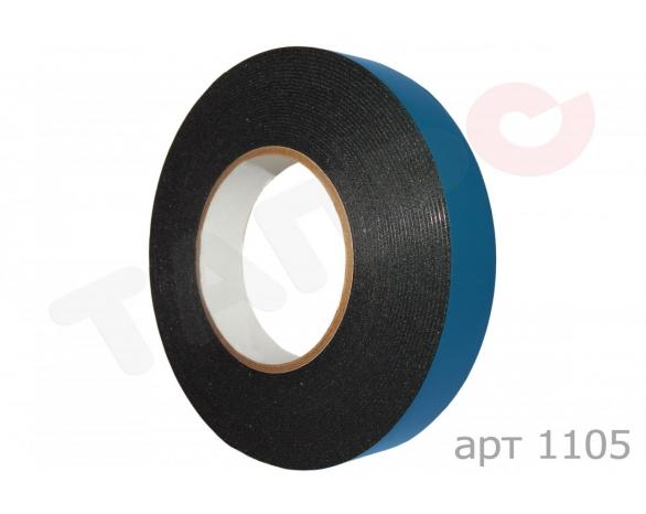Скотч двухсторонний вспененный 30802BBL (12ммх5м), 15 N/25мм \ 80 кг/м², 1мм, -10 +90С°, акрил -