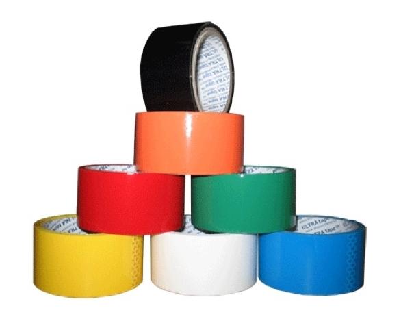 Скотч 72мм х 990м х 45мк білий, зелен., червон., жовт., синій, чорний -
