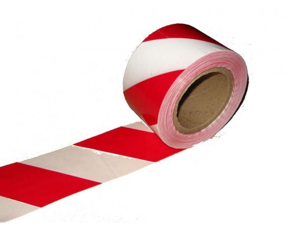 Сигнальная лента оградительная бело-красная 75мм*60мкм -