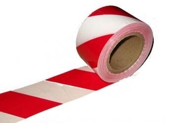 Сигнальная лента оградительная бело-красная 75мм*60мкм